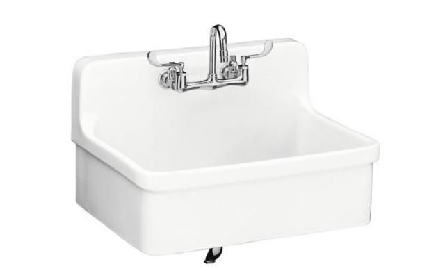 The Clarion Farmhouse Drainboard Sink evokes images of scullery pantries. Eighteen-inch drain boards flank each side of the porcelain over Cast Iron sink. The version with legs is $1,703.99 at Vintage Tub and Bath (the same sink in a Wall-Mounted Version is $1,502.99).