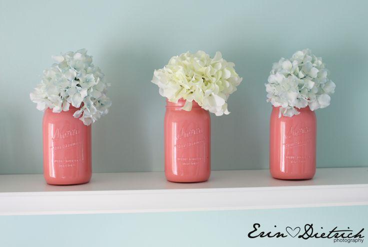Painted Mason Jars: Paintings Mason Jars, Ideas, White Flowers, Colors, Pink Mason Jars, Painted Mason Jars, Centerpieces, Mason Jars Vase, Paintings Jars