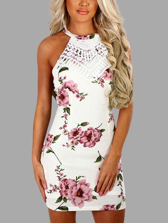 37d0ad5ec99 White Halter Random Floral Print Mini Dress - US 17.95 in 2019 ...