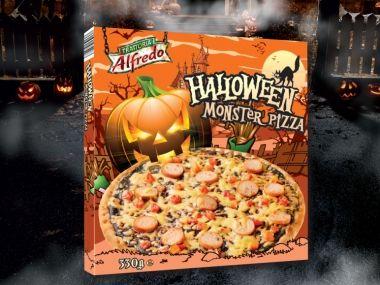 Halloween Monster Pizza, 330 g, z serem cheddar i kiełbasą 5,49 zł/opak. Lidl