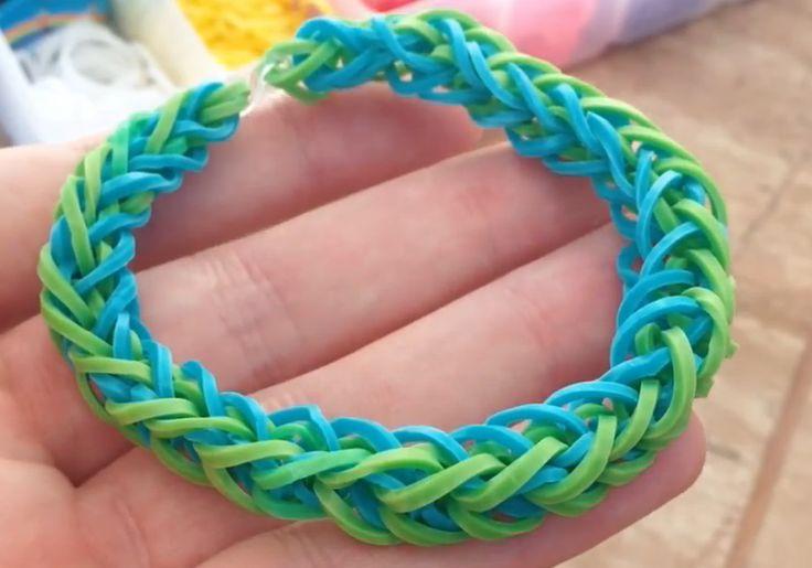 Como fazer pulseiras de elastico French Braid  trançada LoomBands  sem tear  passo a passo http://papcomofazer.blogspot.com