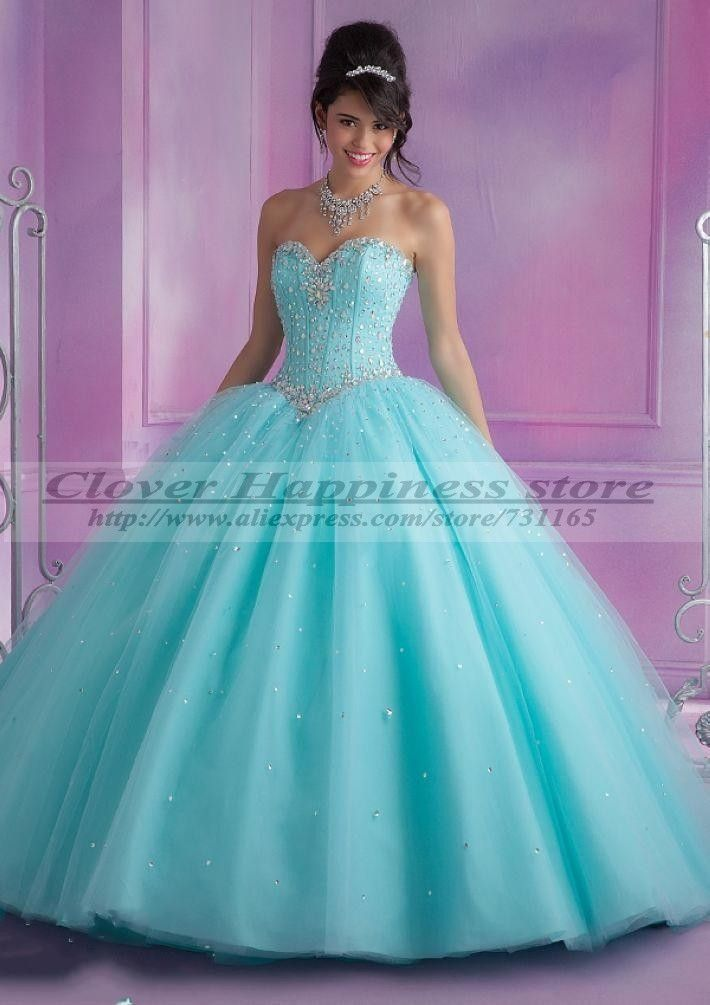 Vestidos De 15 Anos De Debutante Turquoise/Pink Quinceanera Dresses Ball Gown 2014 Long Sweet 16 Dresses Vestidos De Quinceanera                                                                                                                                                                                 Más