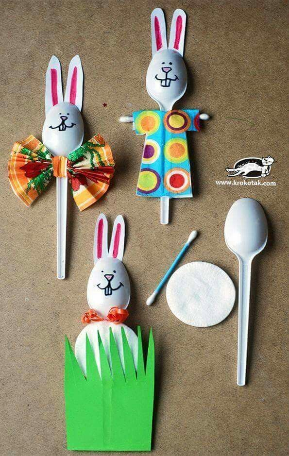 plastic spoon bunnies