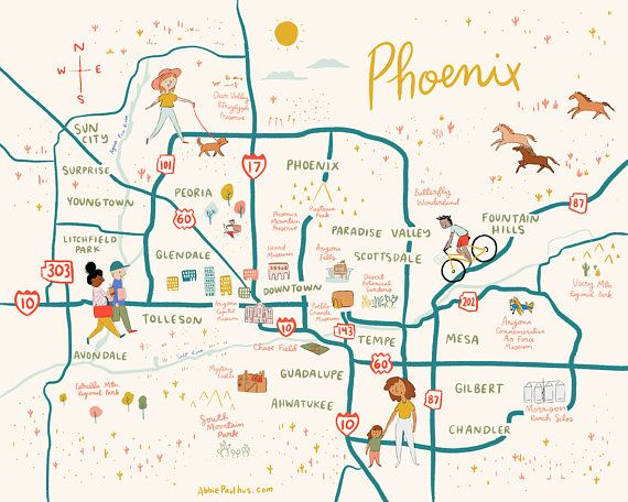 Phoenix Map Art Print 8x10 - illustrated Arizona poster 8x10 ... on chandler map, highland high school map, sun city map, phoenix communities map, silver bay map, scottsdale map, apache jct map, oracle map, east mesa map, san tan map, marana map, wickenburg map, phoenix metro map, glendale peoria map, avondale map, beckley map, tolleson map, baudette map, tempe mesa map,