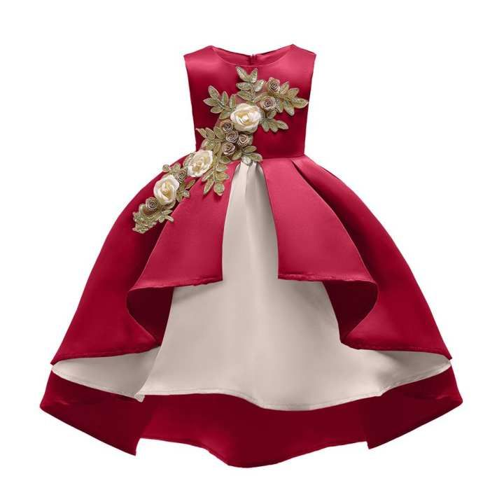 Children Kids Baby Girl Clothes Embroidery Stripe Wedding Pageant Princess Dress