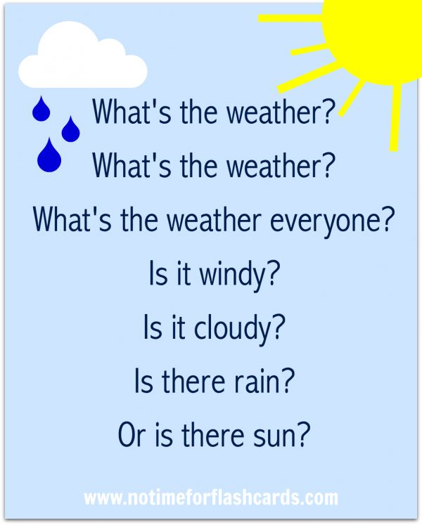 This song would be a great introduction to the weather unit, or an attention getter for recording the weather each day.