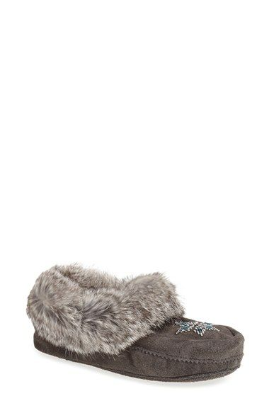 Manitobah Mukluks 'Kanada' Genuine Rabbit Fur, Shearling & Suede Moccasin (Women) available at #Nordstrom