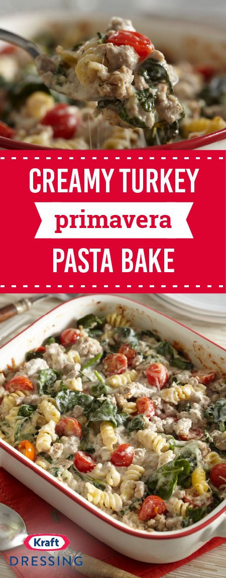 Creamy Turkey Primavera Bake – Filled with ground turkey, cheese, Italian seasoning, spinach, and cherry tomatoes this pasta casserole dish has all the makings of a star recipe for your dinner rotation.