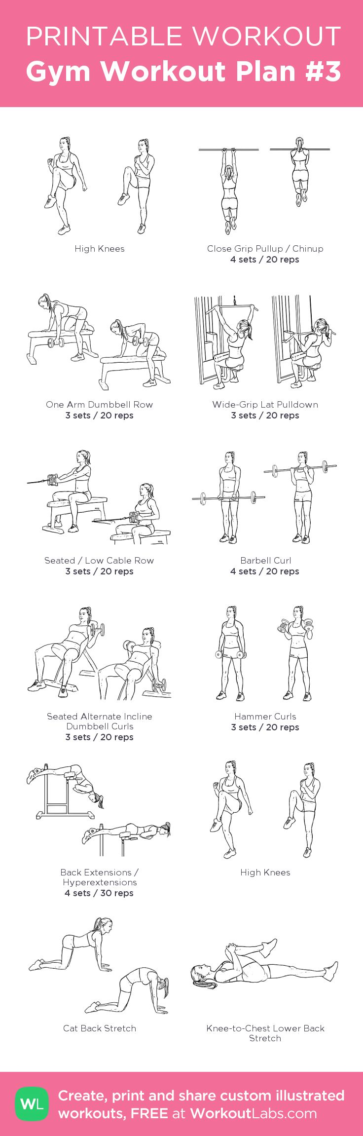 Gym Workout Plan #3: Instead of high knees do 5' warm up on treadmill, and at the end do 20' HIIT on treadmill followed by 5' low intensity for cool down before stretching. my custom printable workout by @WorkoutLabs #workoutlabs #customworkout