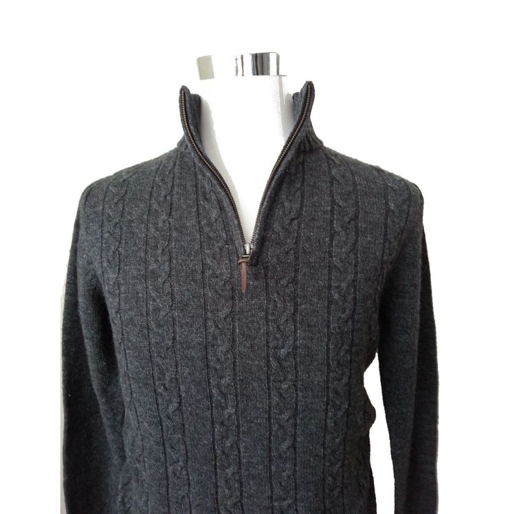 #ebay sale Men Cable wool sweater Quarter Zip Neck sz S Charcoal Savile Row Company London withing our EBAY store at  http://stores.ebay.com/esquirestore
