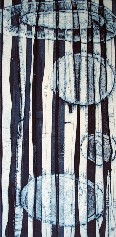 Tessa Horrocks - London Printmaking Artist this could be possible on gelli making two prints the lines would be one then pull the circles on the line print ghost use the first line print and use the ghost print of circles to achieve the softness