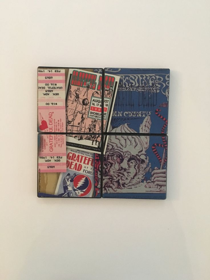GRATEFUL DEAD Tickets Posters Backstage Passes from Relix Magazine on Set of 4 Ceramic Hot and Cold Drink Beverage Coasters + Felt Backing by UpcyclingIt on Etsy