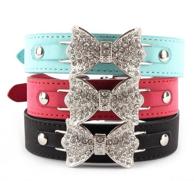 Bling Crystal Bow Leather Dog Collar