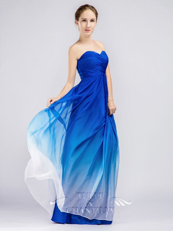 Blue Ombre Strapless Sweetheart Long Bridesmaid Dresses 3 Dresses