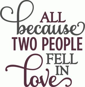 Silhouette Design Store: two people fell in love - layered phrase