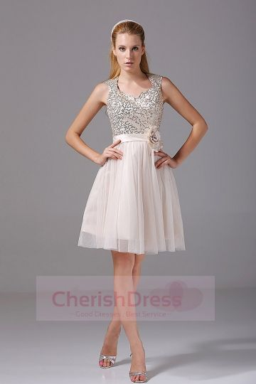 Ball Gown Queen Anne Mini/Short Lace Tulle Satin Prom Dress with Sequins