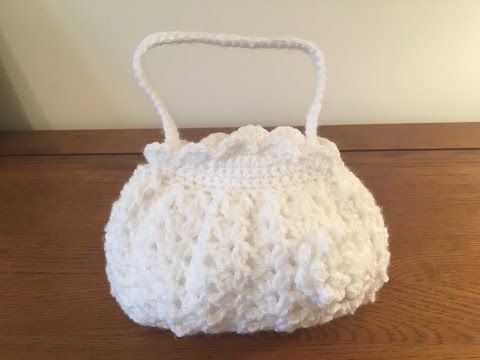 How to crochet small holy communion bag - YouTube