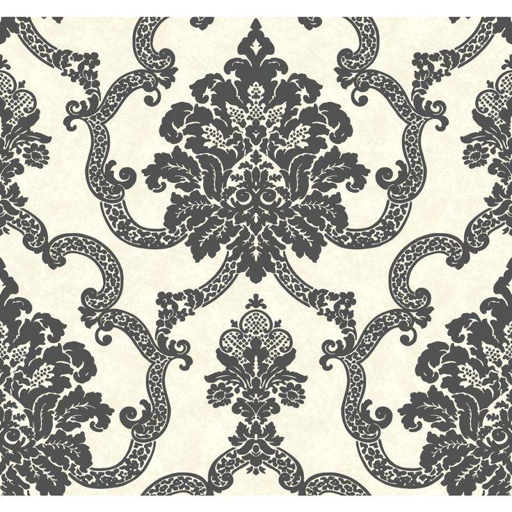AB2182   Ashford House Black U0026 White Decorative Damask Wallpaper In Black  And Cream