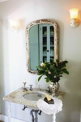 Small bathroom delight.: Mirror, Bathroom Sink, Interior, Vintage Bathroom, Shabby Chic, Rustic Bathroom, Bathroom Ideas, Powder Rooms