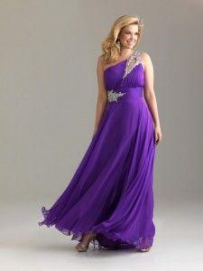 een lange jurk tulle romantische een schouder paarse Avondjurken grote maten stijl 6526w