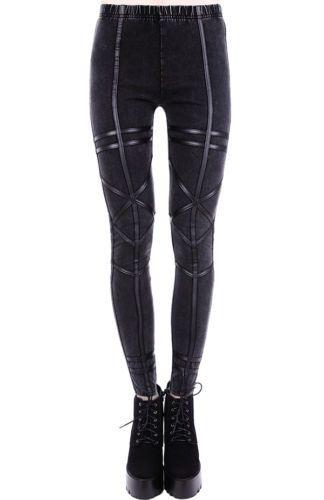 Restyle-Gothic-Leggings-Hose-Acid-Geometry-Jeans-Look-Kunst-Leder-Pants-Nugoth