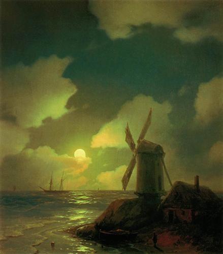 Windmill on the Sea Coast - Iván Aivazovski