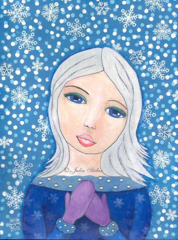 Diese Schneeprinzessin fing eigentlich als blonde Fee an – die mir aber überhaupt nicht gefiel. Nach und nach verwandelte sie sich in die jetzige Schneeprinzessin im Mixed Media Stil.