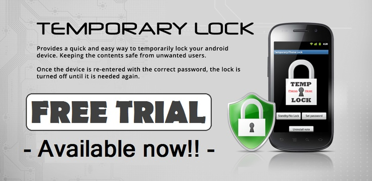 Temporary Lock (Android App) Keep your secrets safe! Lock your phone as you need, using a preset PIN number. Enter your PIN and the lock will turn off, setting phone back to Swipe lock-screen