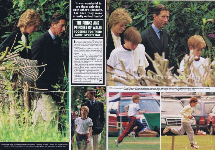 This article is from the June 24th 1995 issue of HELLO! magazine. Prince Charles and Princess Diana were pictured together attending their son's school sports-day at Ludgrove school.  Prince William took part in two races, while Prince Harry showed his energy taking part in the hurdles, but was finally beaten in the race by two older boys.
