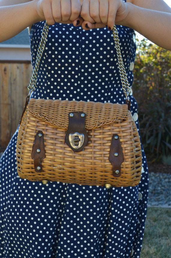1960 Mr Jonas Purse Wicker Basket Handbag by OldMoonVintageShop