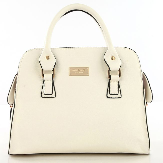 Michael Kors Gia Leather Large White Satchels only $72.99