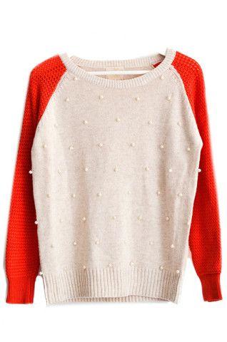 Pearl Color Block Raglan Sweater
