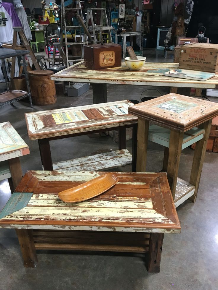Tables Made From Reclaimed Wood Out Of Historic Galveston