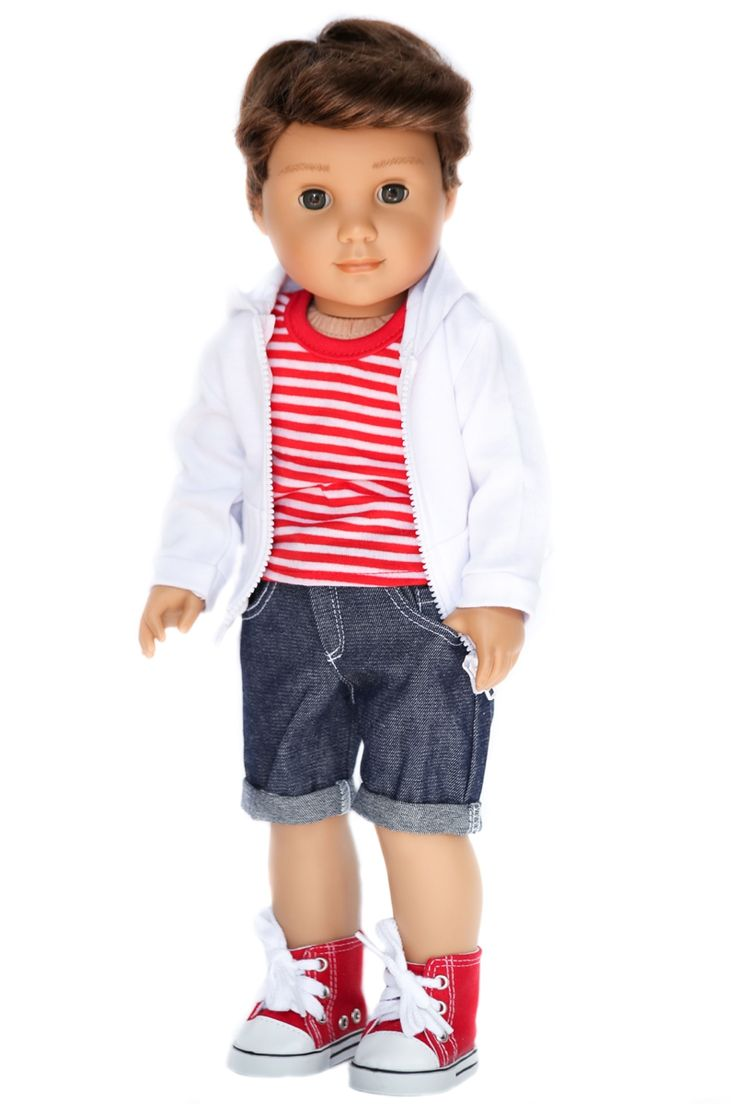 White Hooded Jacket, Cuffed Shorts & Striped Shirt Doll Clothes for American Boy Doll