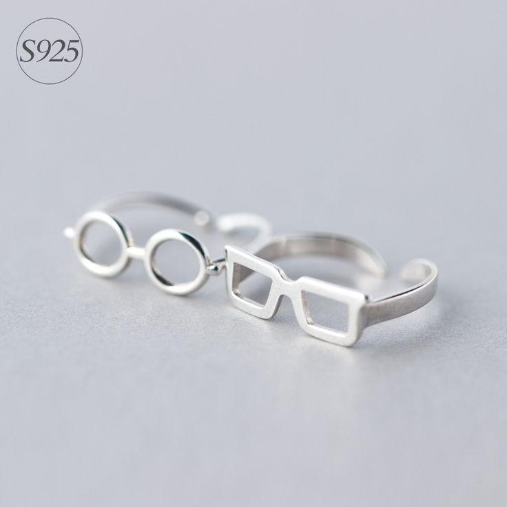 Leuke & Unieke Vierkante/Ronde Bril 925 Sterling Zilveren Ring | Resizable Gestapelde Ringen Minimalisme Sterling-zilver-sieraden Tieners