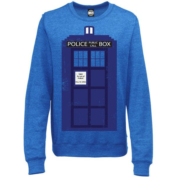 BatchOne Unofficial Doctor Who Womens Tardis Police Box Sci-Fi Print... ($39) ❤ liked on Polyvore featuring tops, hoodies, sweatshirts, shirts, sweaters, doctor who, sweatshirt, grey, women's clothing and pattern tops