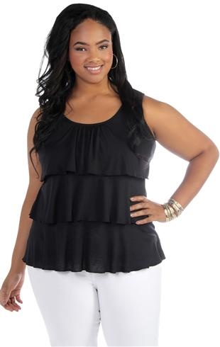 plus size tiered tank with knot web back