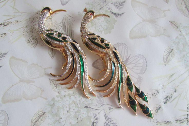 """Купить Винтажные броши Райские птицы от D""""Orlan - комбинированный, винтаж, винтажный стиль, винтажная брошь"""