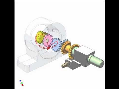 Study of satellite spur and bevel gear mechanism 1 - YouTube