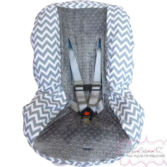 Chunky Grey Chevron with Charcoal Toddler Car Seat by sewcuteinaz