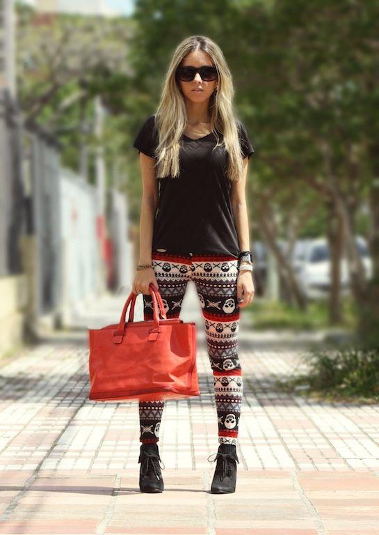 women fashion style clothing outfit aztec pants leggings handbag orange sunglasses top black t-shirt boots bracelet summer