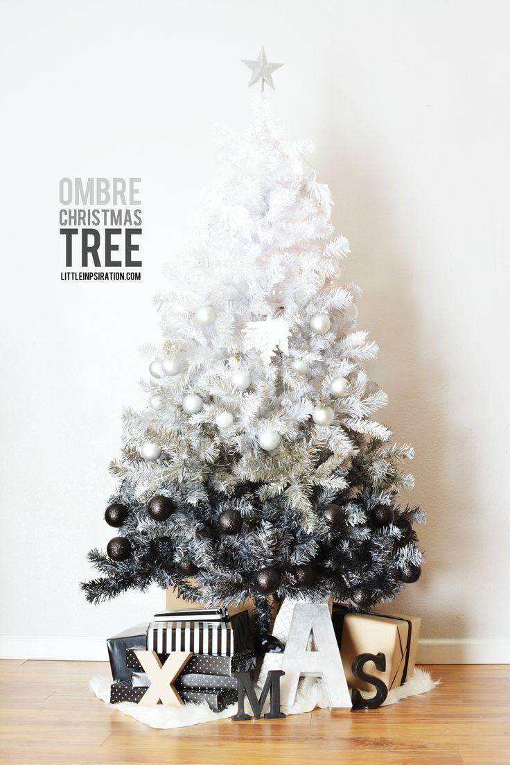 white to black ombre christmas tree