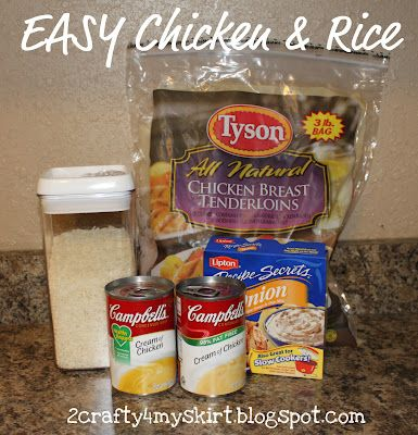 Easy Chicken & Rice. We had this for dinner tonight and the family loved it. Super easy.