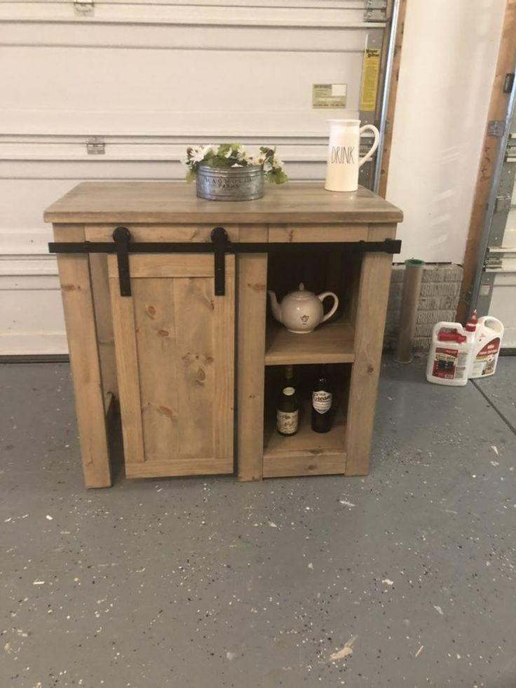 Coffee bar with one door slider mini fridge coffee bar
