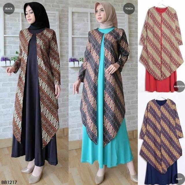Gamis Batik Kombinasi Brokat Outer Sangat Cocok Untuk Acara Hangout Atau Pergi Hajatan Batik Model Cocok
