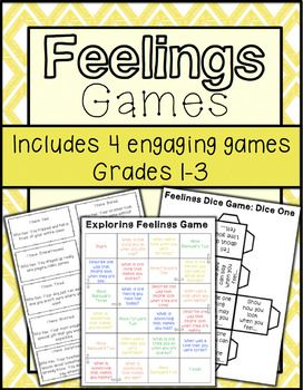 """This resource includes 4 engaging games to help students learn and understand more about feelings/emotions. The 4 games that are included are: Exploring Feelings Board Game, Feelings Dice Game, Feelings """"I Have, Who Has,"""" and Guess the Feeling. All games can be used in group or individual sessions."""