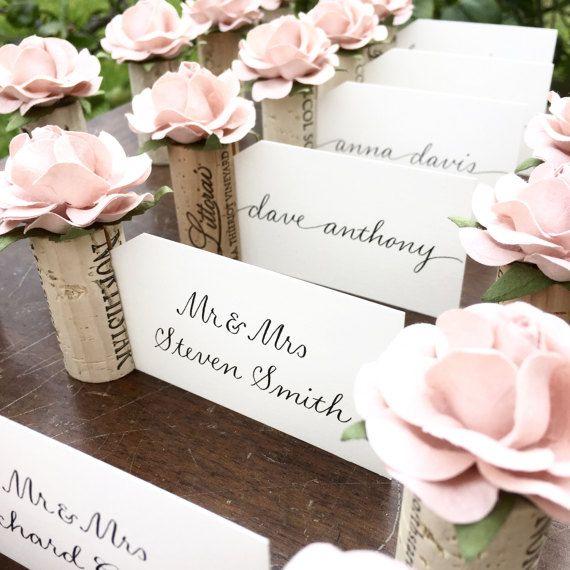 Romantic PlaceCard Holder Wedding. Blush Pink Bridal Shower Decorations. Winery Wedding Decor. Wine Theme Wedding Bridal Shower Wine Tasting