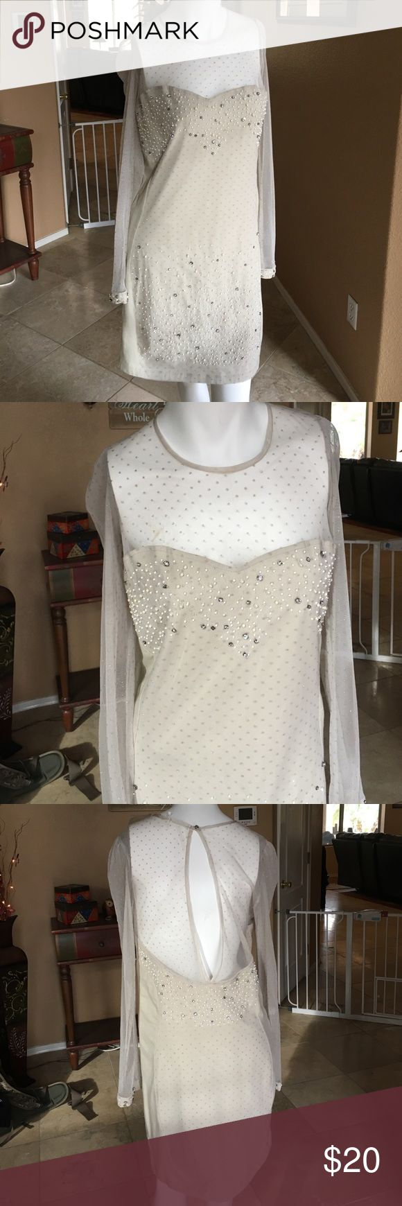 Formal Dress! 2. Formal Off White Colored Dress! Complete with rhinestone and white beading, sheer sleeves, and a keyhole back! Extra stones included! Kimchi Blue Dresses Long Sleeve