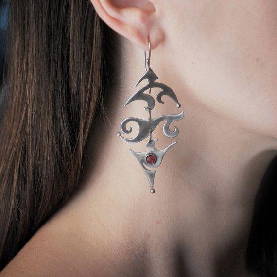 Bohemian Garnet Silver Earrings  January Birthstone by Jewellietta, €77.00