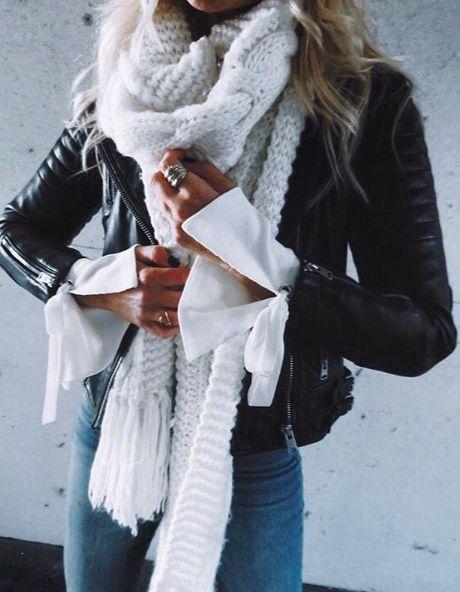 moto jacket + big knit scarves